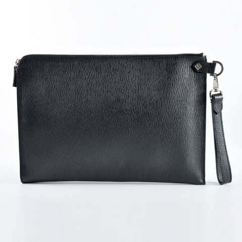 Salvatore Ferragamo Black Epi Leather Document Pouch