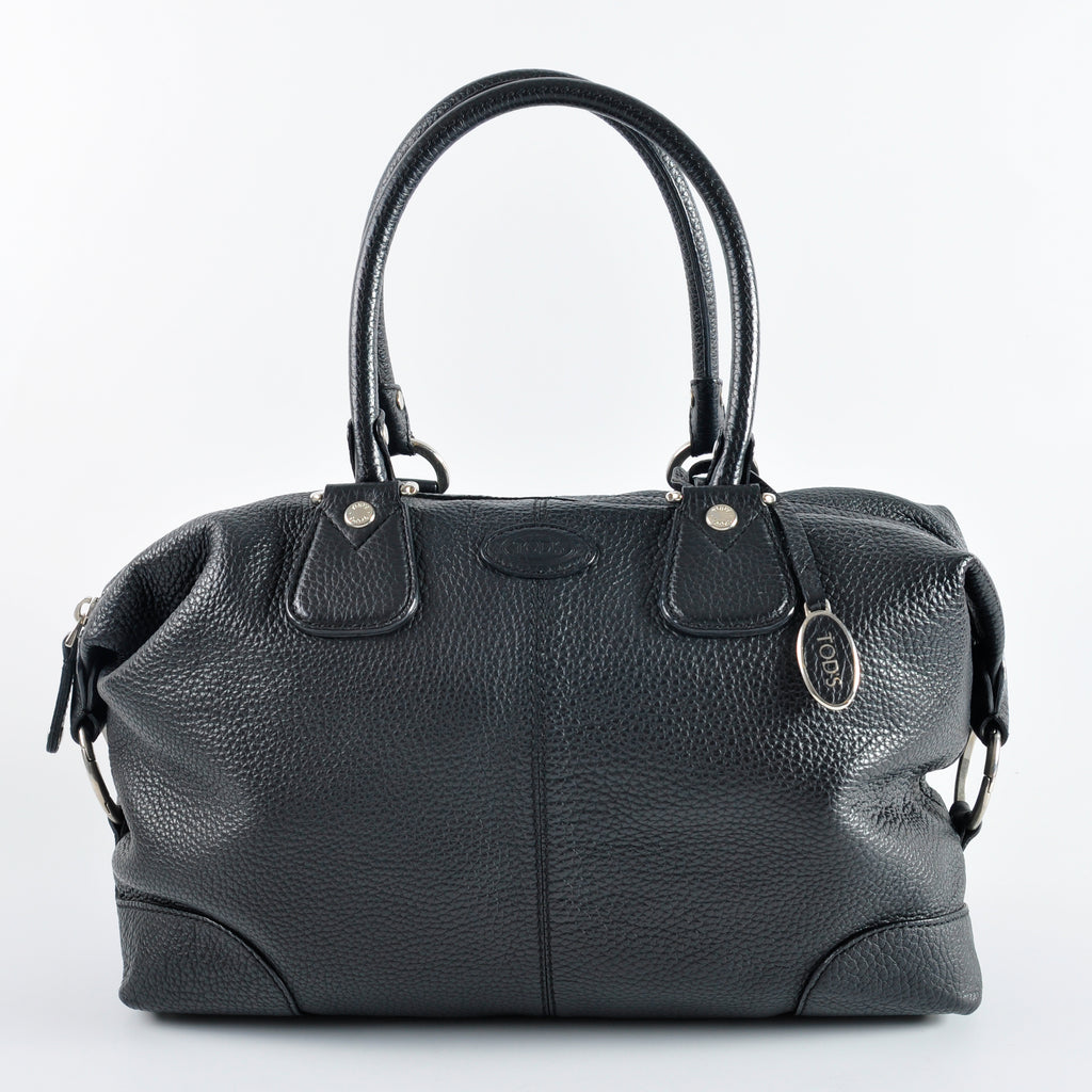 Tods Black Grained Leather Shoulder Bag