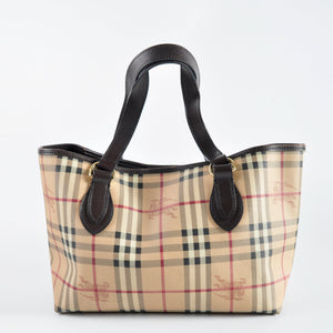 Burberry Haymarket Tote in Brown - Glampot