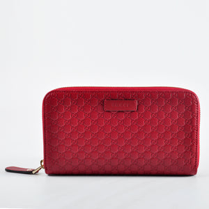 Gucci Red Long Zip Wallet