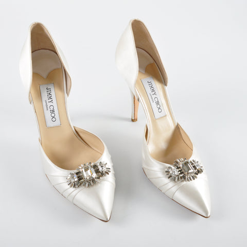 Jimmy Choo Ivory Satin Embellished Wedding Heels Size 38