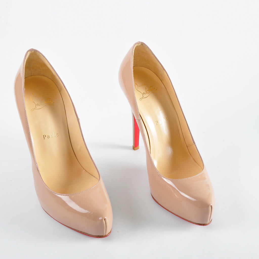 Christian Louboutin Simple Pump Patent Beige- Size 38