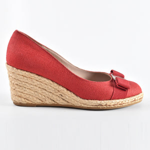 Salvatore Ferragamo Darly Wedges in Rosso Fabric - Size 6