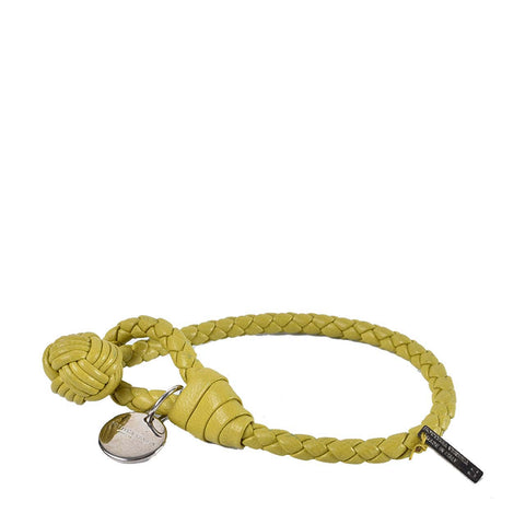Bottega Veneta Intrecciato Nappa Bracelet in Lime Green
