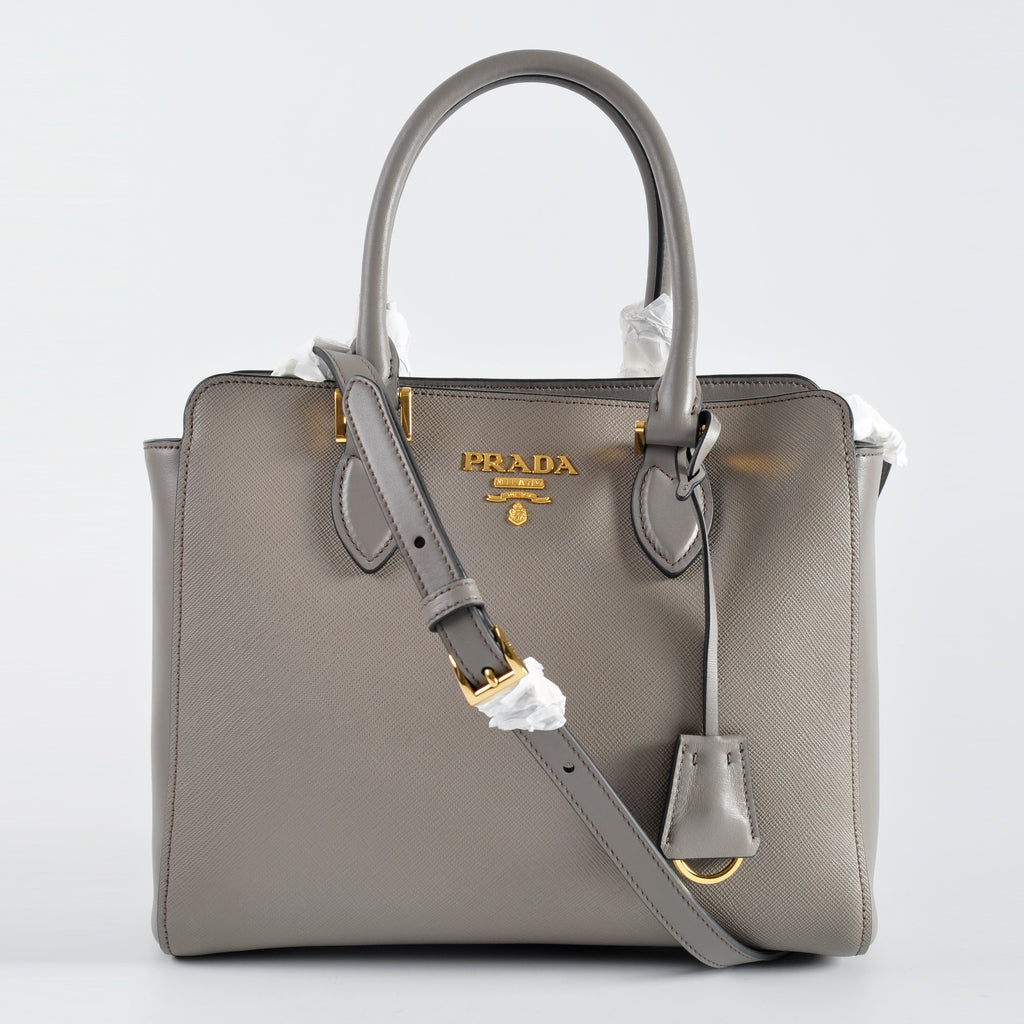 Prada 1BA113 Saffiano Leather Satchel Argilla