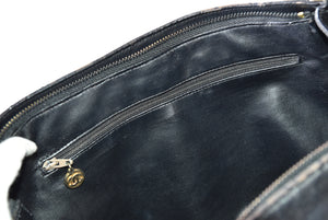 Chanel Vintage Black Leather CC Zip Tote GHW with Logo Charm - Glampot