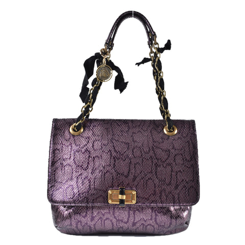 Lanvin Snakeskin Happy Bag in Metallic Purple