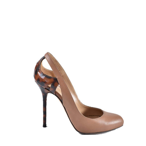 Sergio Rossi SS14 Nude Cut Out Heels with Tortoise Shell Patent Trim A59260-MAF 202