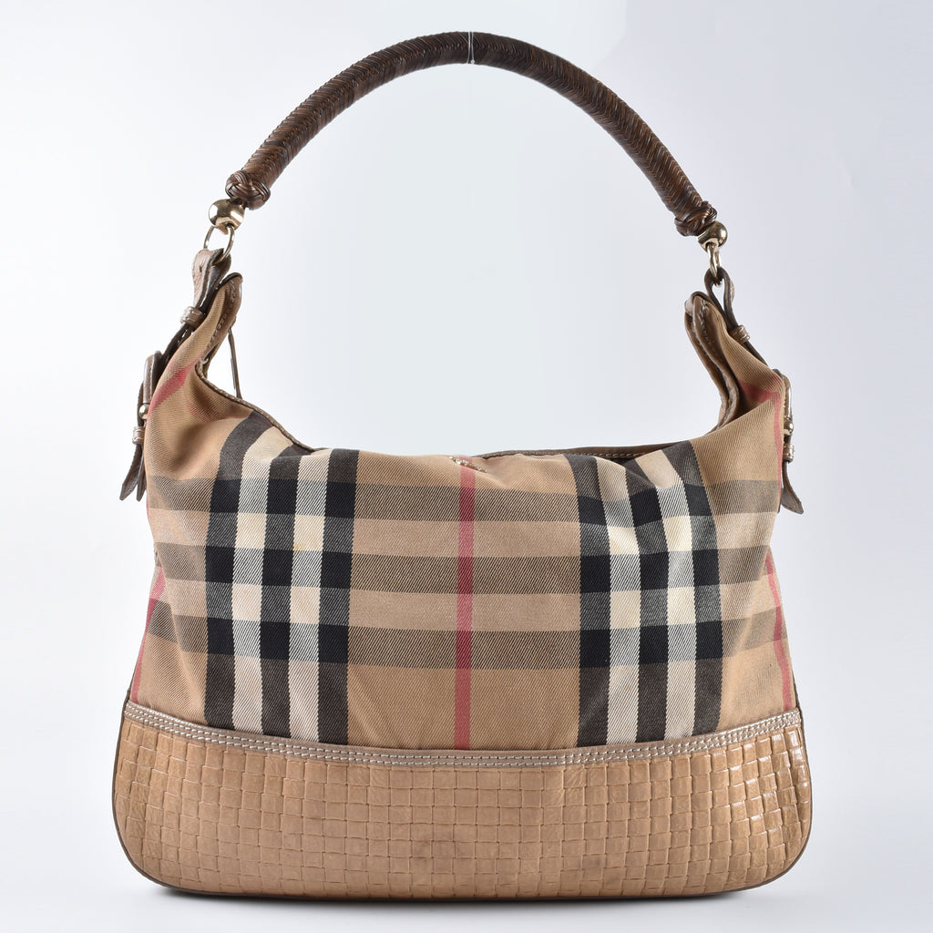 Burberry Checkered Hobo Shoulder Bag - Glampot