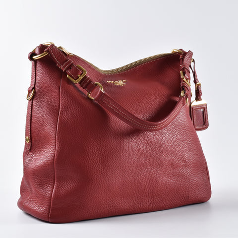 Prada Red Calf Leather Shoulder Bag