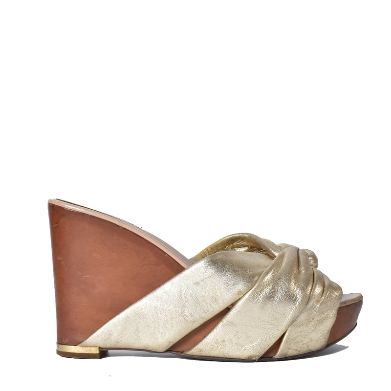 Sergio Rossi Metallic Gold Platform Wedge Slide