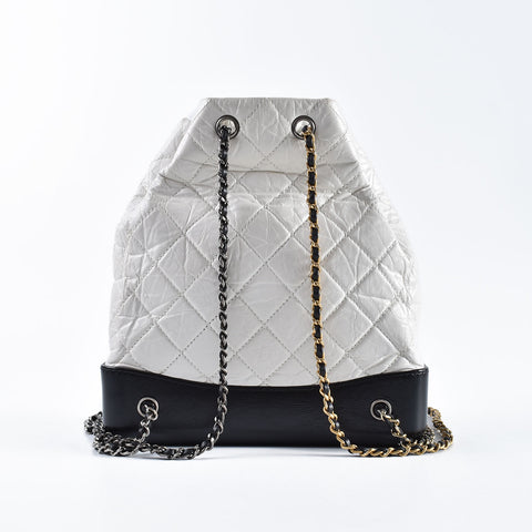 2b10d8cf2fe9 Chanel Gabrielle Small Quilted White Aged Calfskin / Black leather Bagpack  - Glampot