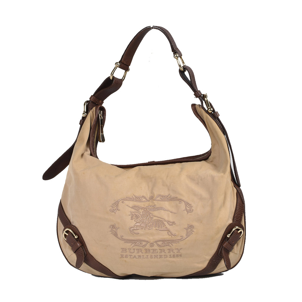 Burberry Shoulder Embroidered Logo Brown Taupe Canvas Leather Hobo Bag