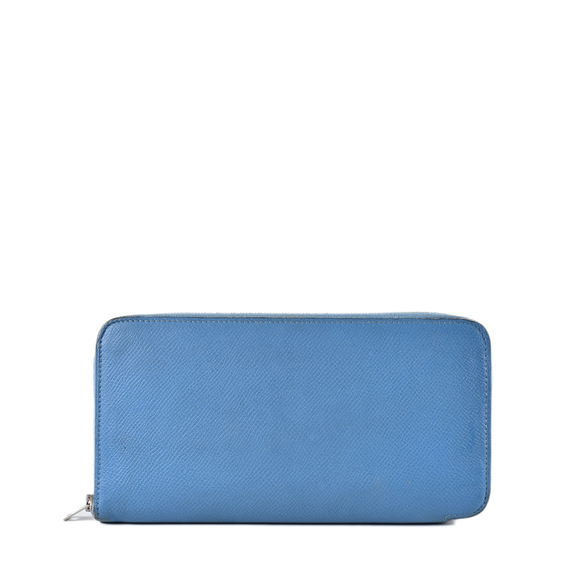 Hermes Blue Epsom Leather Zip Around Wallet