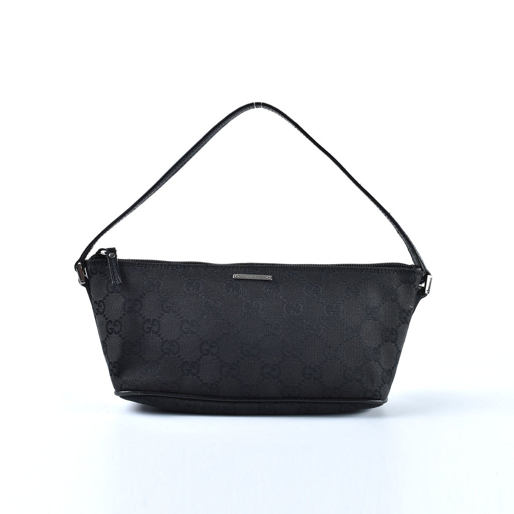 Gucci 07198 2123 Boat Pochette GG Canvas in Black