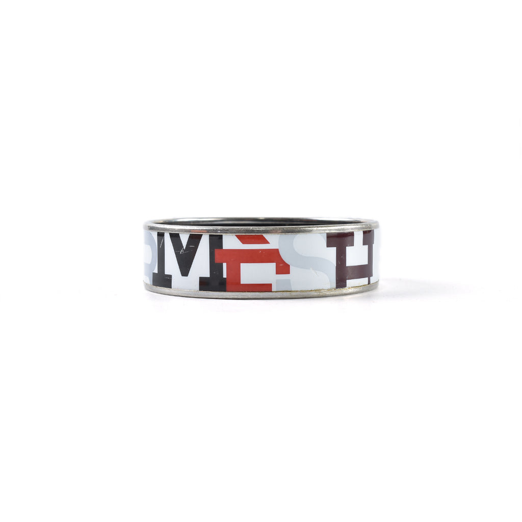 Hermes Wide Capitals Printed Enamel Bangle in White / Silver Stamp J
