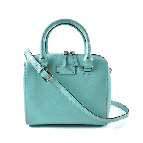 Kate Spade WKRU1743 Alessa Wellesy Fresh Air Blue Pebbled Leather Satchel Bag