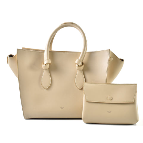 Celine Natural Calfskin Tie Small Tote Bag in Vanilla S-CE-1123 - Glampot