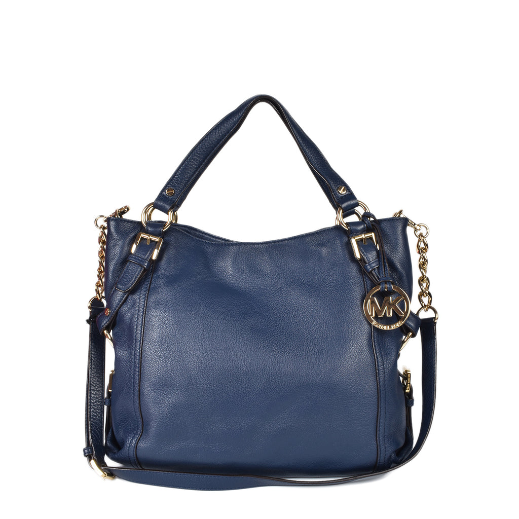 Michael Kors Tristan Large Shoulder Leather Tote in Navy Blue