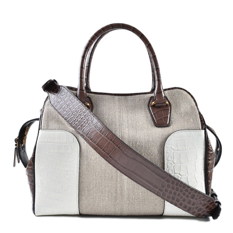 3cd1e3015786 Tod's Sella Embossed Croc Brown Beige Convertible Calfskin Leather Satchel