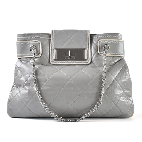 8fbb9ab497d49e Chanel Mademoiselle Giant TurnLock Tote Quilted Leather in Grey SHW  12594886 - Glampot