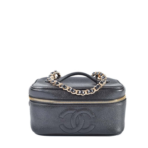 4b336a6f345a59 Chanel Vintage Black Short Caviar Vanity Case with Chain 3322221 (341)
