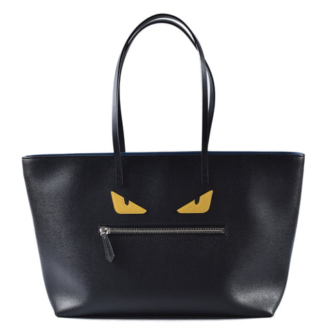 Fendi Monster Shopping Tote in Black with Blue Interior 02068506