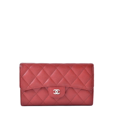 Chanel A31506 Quilted Flap Wallet in Red Caviar SHW  22262739 - Glampot