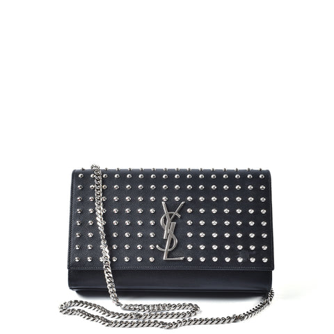 Saint Laurent Grain De Poudre Matelasse Studded Medium Monogram Satchel Black