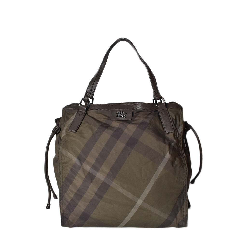 Burberry Nova Check Nylon Shopper in Olive Green
