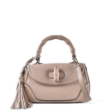 a7d8678b736 Gucci 296859 200047 Beige Smooth Leather New Bamboo Medium Top Handle Bag