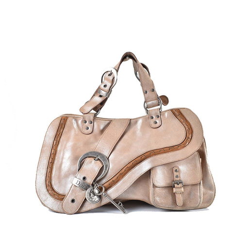 Christian Dior Gaucho Saddle Tan Leather Shoulder Bag 16-MA-1026