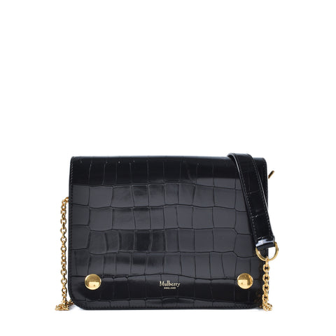 Mulberry Clifton in Black Polished Embossed Croc Leather A/W 2016 Collection