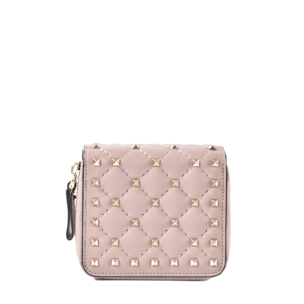Valentino Beige Rockstud Free Spike Leather Small Zip Around French Compact Wallet