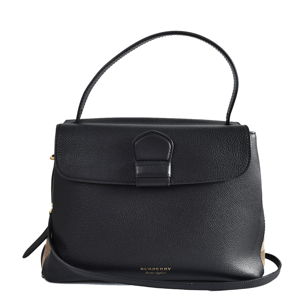 Burberry Camberly Medium House Check Satchel in Black BMPLCP1374