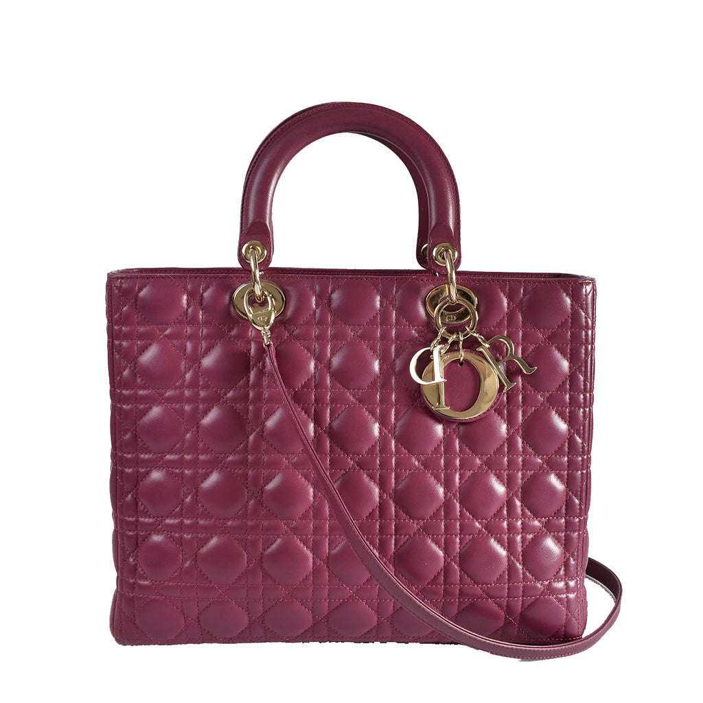 Christian Dior Purple Cannage Quilted Lambskin Leather Large Lady Dior Bag