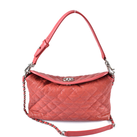 Chanel French Riviera Hobo Quilted Burnt Orange Caviar Small 15708660 - Glampot