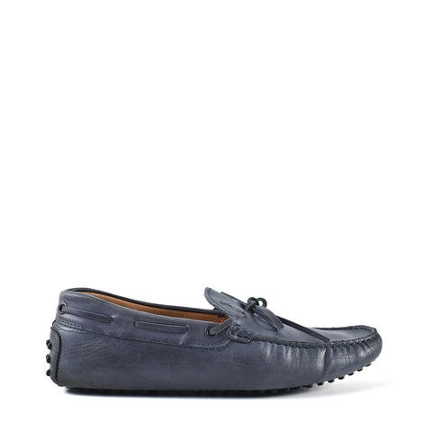 Tod's New Laccetto Occh. New Gommini Navy Mens Driving Shoes - Size 7.5