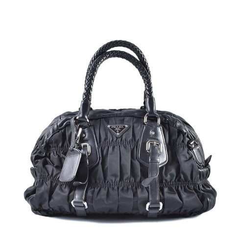 Prada BL0397 Black Gaufre Leather/Nylon SHW