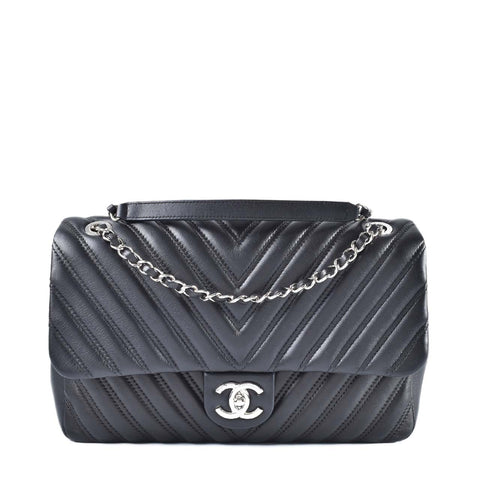 Chanel Chevron Single Flap Lambskin SHW 02ef5467aa20d