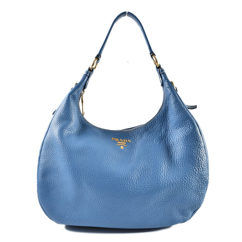 Prada Blue Calf Leather Hobo
