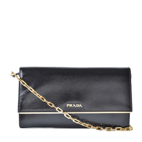 7e72d5319310 Prada Black Vernice Saffiano Leather Black Wallet on Chain