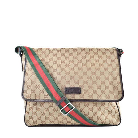 Gucci Monogram Web Medium Men's Messenger Brown Pig Skin 233052 213317