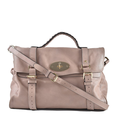 Mulberry Leather Alexa Satchel in Tan/Beige GHW