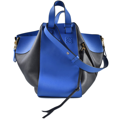 Loewe Blue Hammock Contrast-Panel Leather Medium Tote GHW