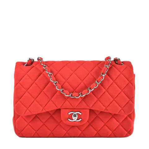 Chanel SS2014 Red Jersey Double Flap Handbag 19621924