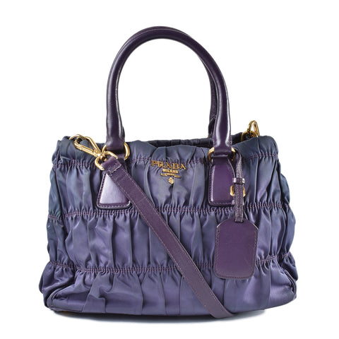 Prada Tessuto Gaufre Nylon Purple Small Top Handle Bag