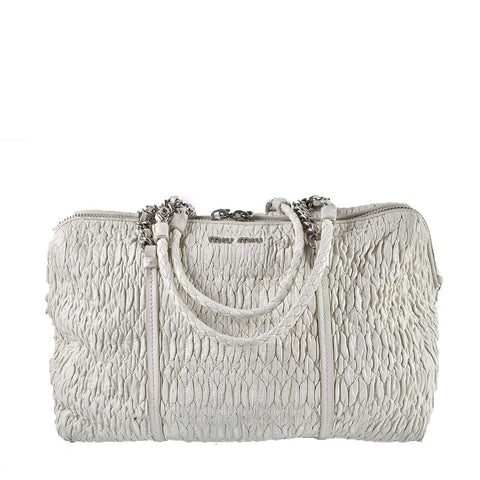 Miu Miu Cloquet Nappa Ruched White Shoulder Bag