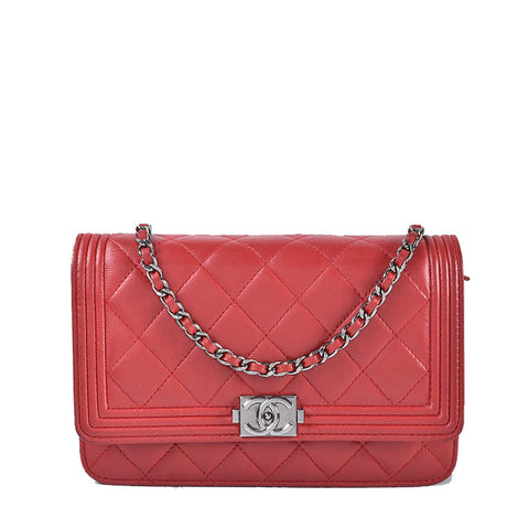 Chanel Red Lambskin Boy Classic Quilted Wallet on Chain Flap Bag