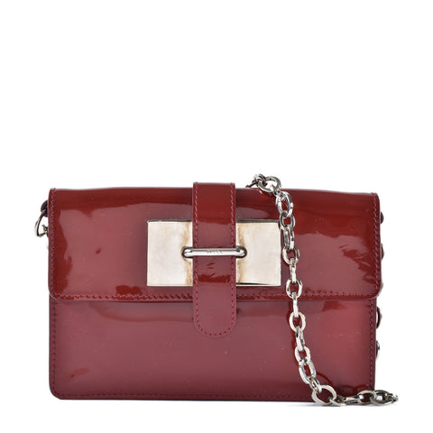 Furla Maroon Patent Leather Clutch with Chain